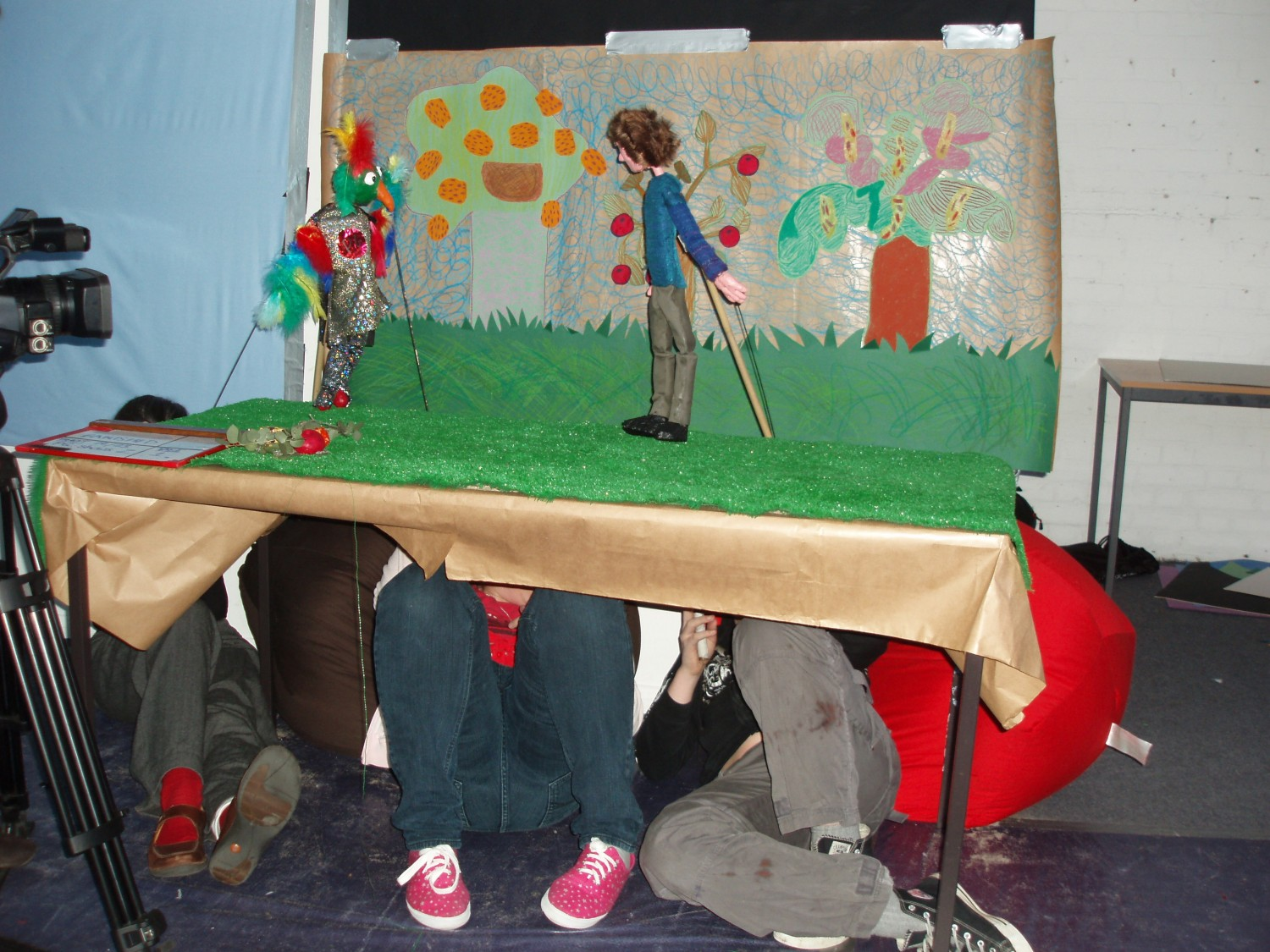Puppeteers in action